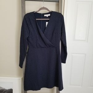 Loft | navy blue knit wrap dress